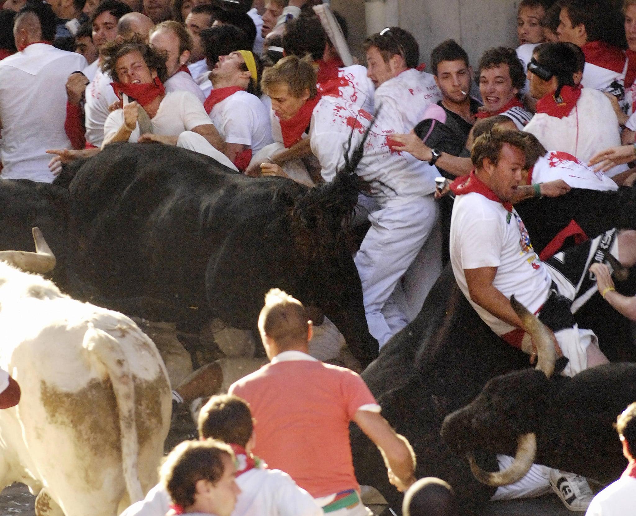Participants are charged by Conde de la Corte fighting bulls.