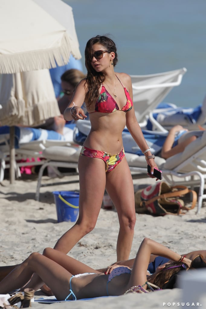 Nina Dobrev hit the beach in a bikini during a trip to Miami in April.