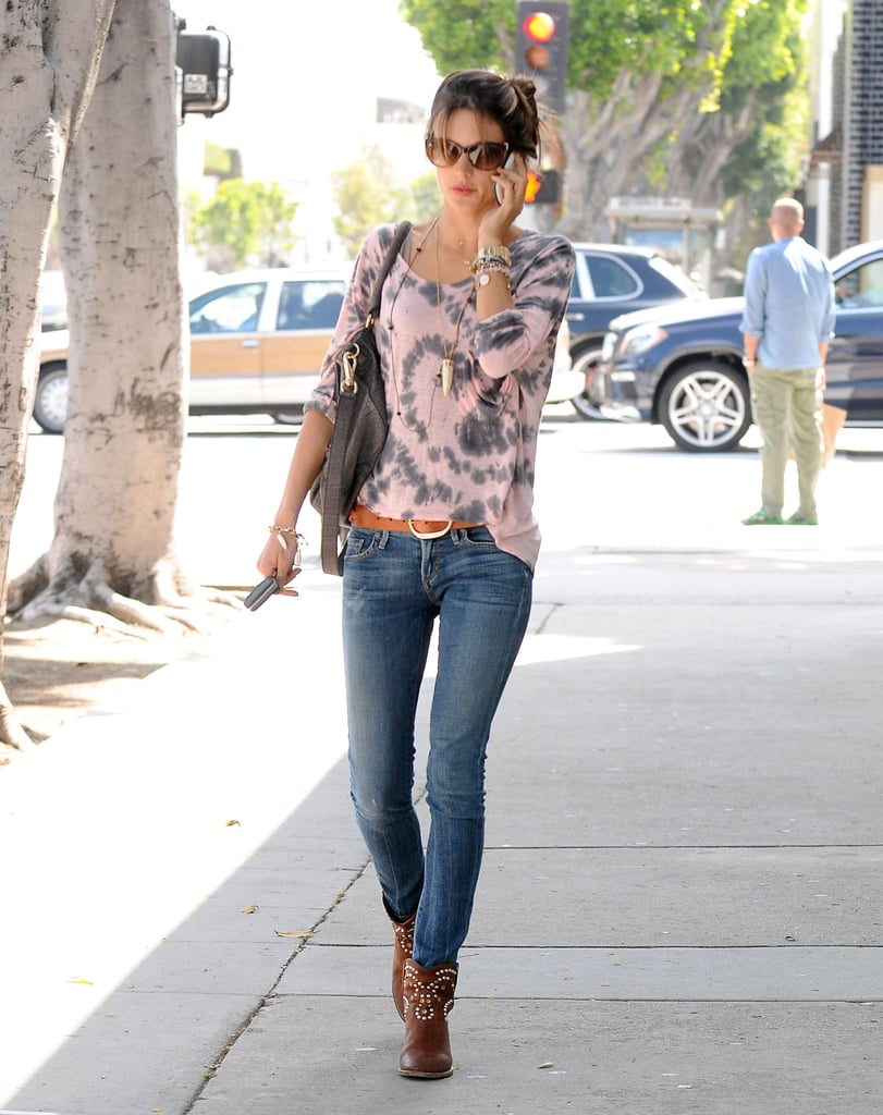 Alessandra Ambrosio wore belted jeans and boots in Beverly Hills.