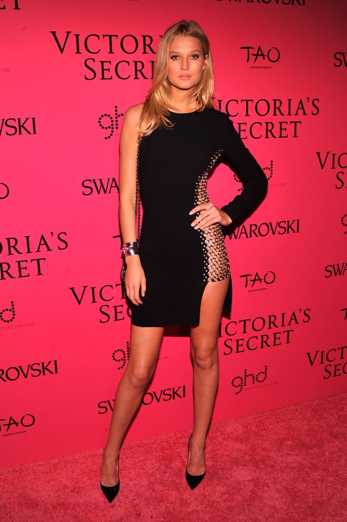 Toni Garrn's dress, with its side panel made entirely of grommets, created a sheer statement on the red carpet.
