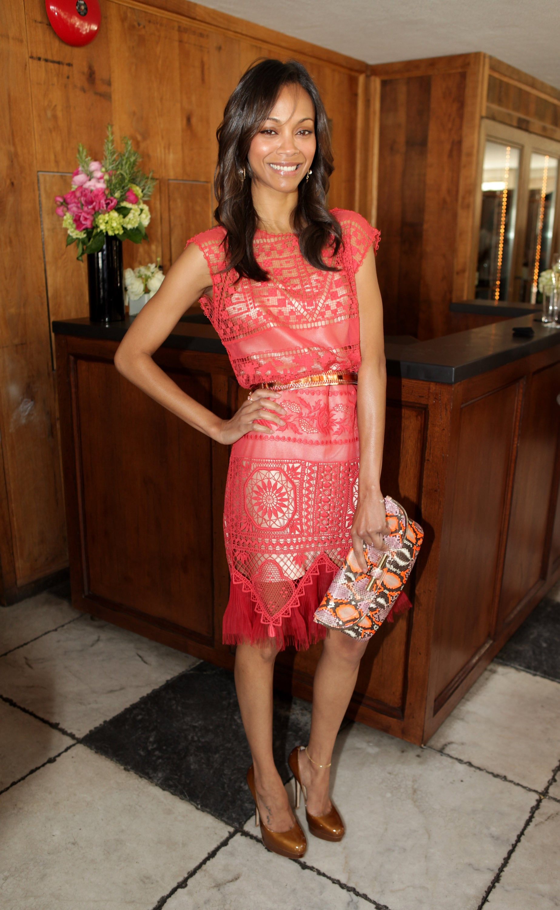 How Summer-perfect was this coral and crochet-inspired Alexis Mabille Couture dress? Zoe chose this bright number for The Hollywood Reporter's 25 Most Powerful Stylists luncheon in March 2012.