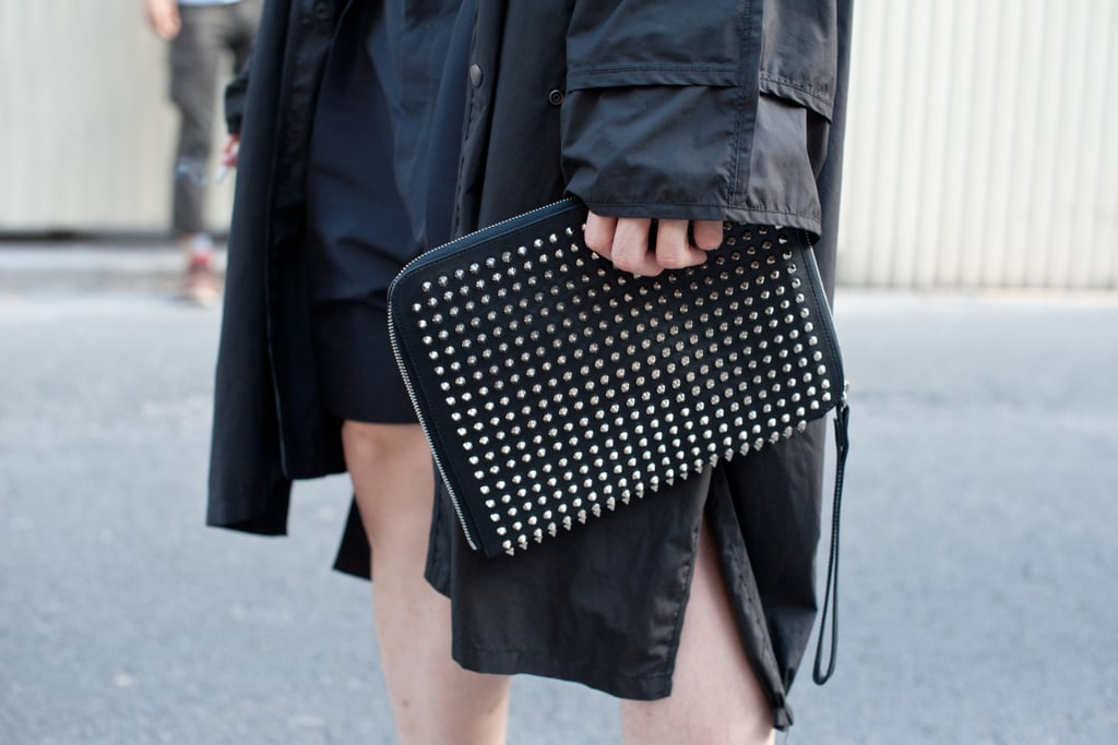 A clutch with style power, this one caught our attention with all-over studding.