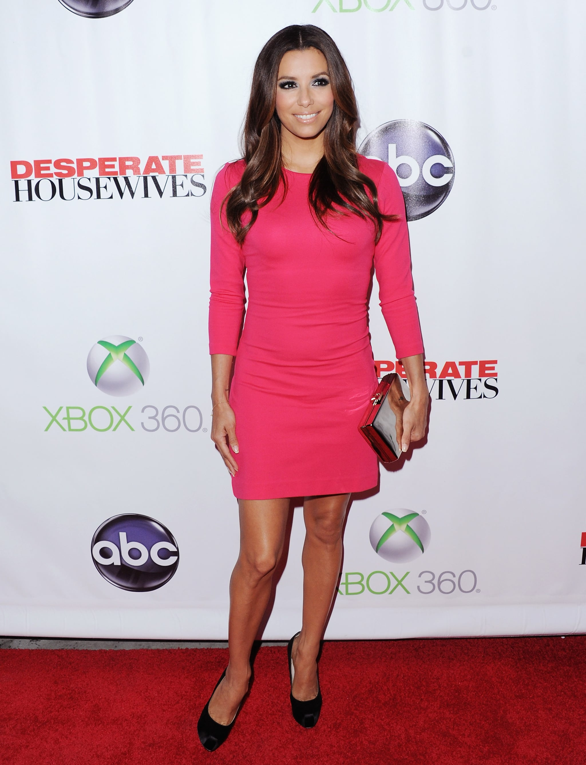 The Desperate Housewives star chose a hot pink Ann Taylor ponte sheath for the series 2012 finale party in Hollywood.