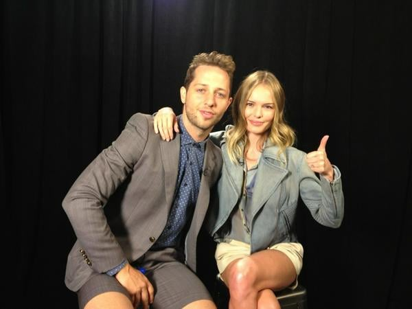 Kate Bosworth and Derek Blasberg were ready for the Theyskens' Theory show to start. Source: Twitter user katebosworth