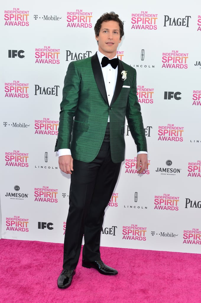 Andy Samberg on the red carpet at the Spirit Awards 2013.