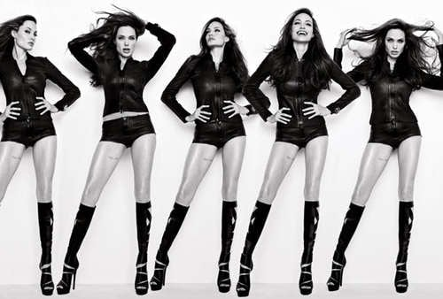 Angelina Jolie showed her thigh tattoo during a photo shoot for her August 2010 Vanity Fair spread.