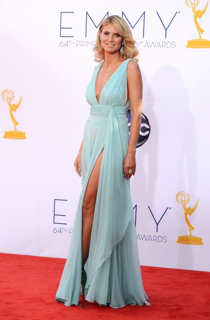Heidi Klum showed off her legs under an Alexandre Vauthier gown.
