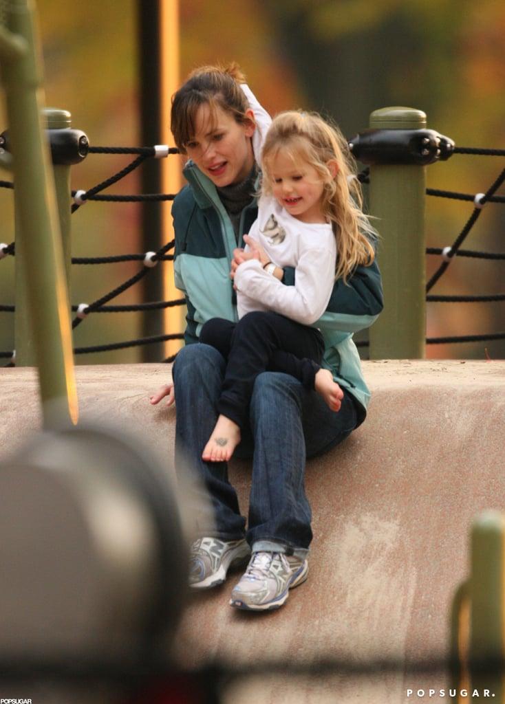 Jennifer Garner joined Violet Affleck on the jungle-gym equipment in October 2009 in Cambridge, MA.