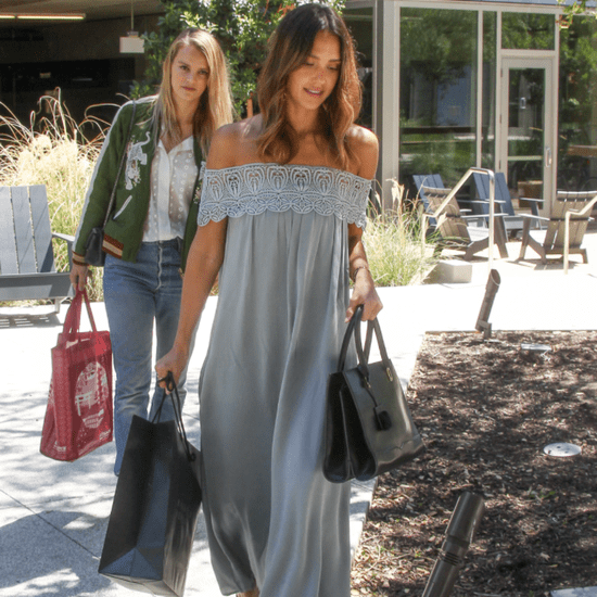 Jessica Alba Wearing an Off-the-Shoulder Dress April 2016