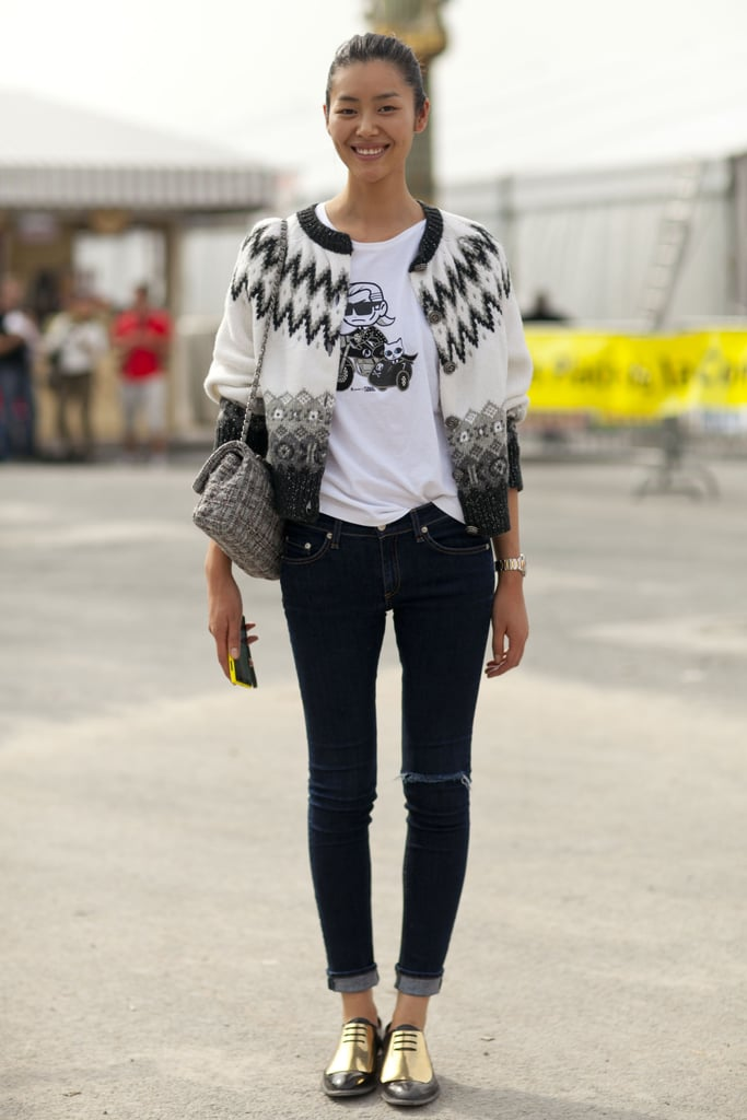Liu Wen pays homage to the fashion world with a Karl t-shirt.