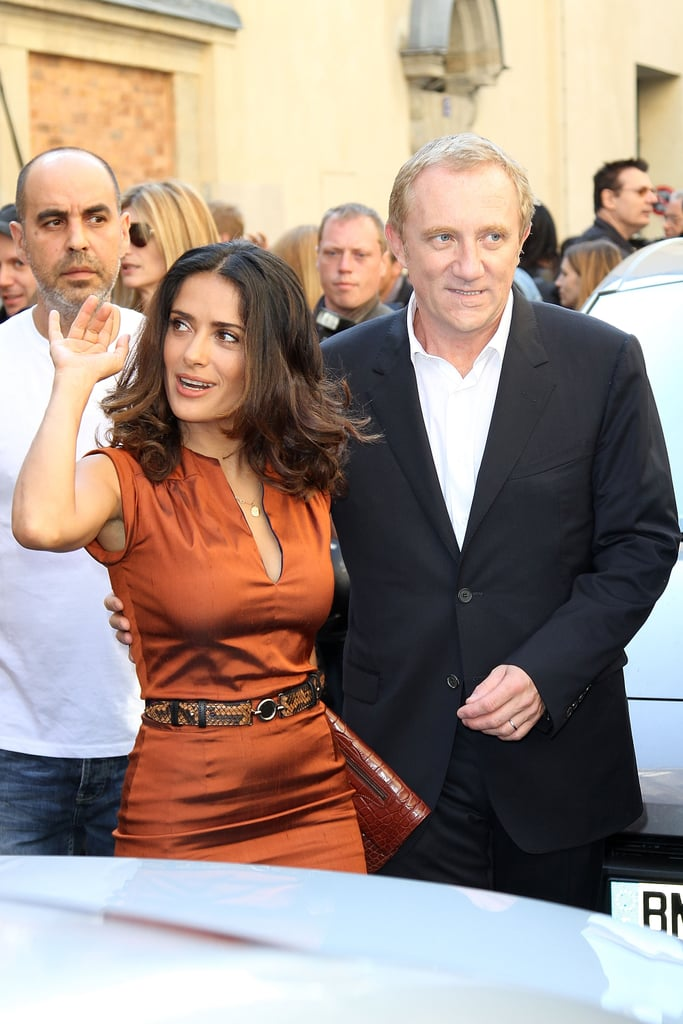 Salma Hayek waved to fans and photographers.