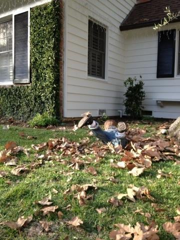 Arthur Bleick had some fun playing in the leaves with mama Selma Blair. Source: Twitter user SelmaBlair