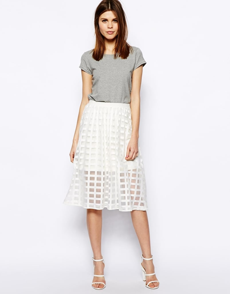 ASOS Sheer Check Midi Skirt