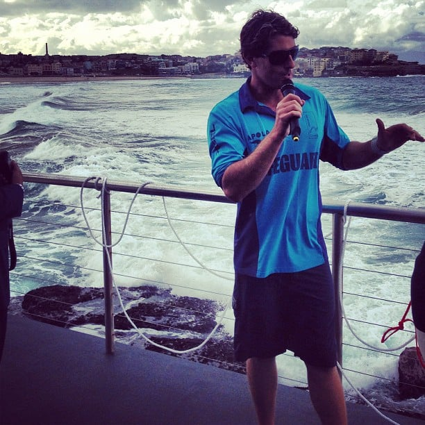 He could guard our lives any time. . . Health and beauty editor Alison was privy to a good view at a Kiehl's launch at Bondi's Icebergs.