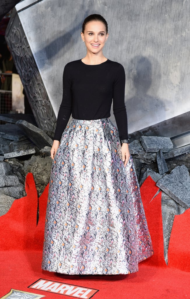 Natalie Portman in a Ball-Skirt Christian Dior Gown at the 2013 Thor: The Dark World World Premeire