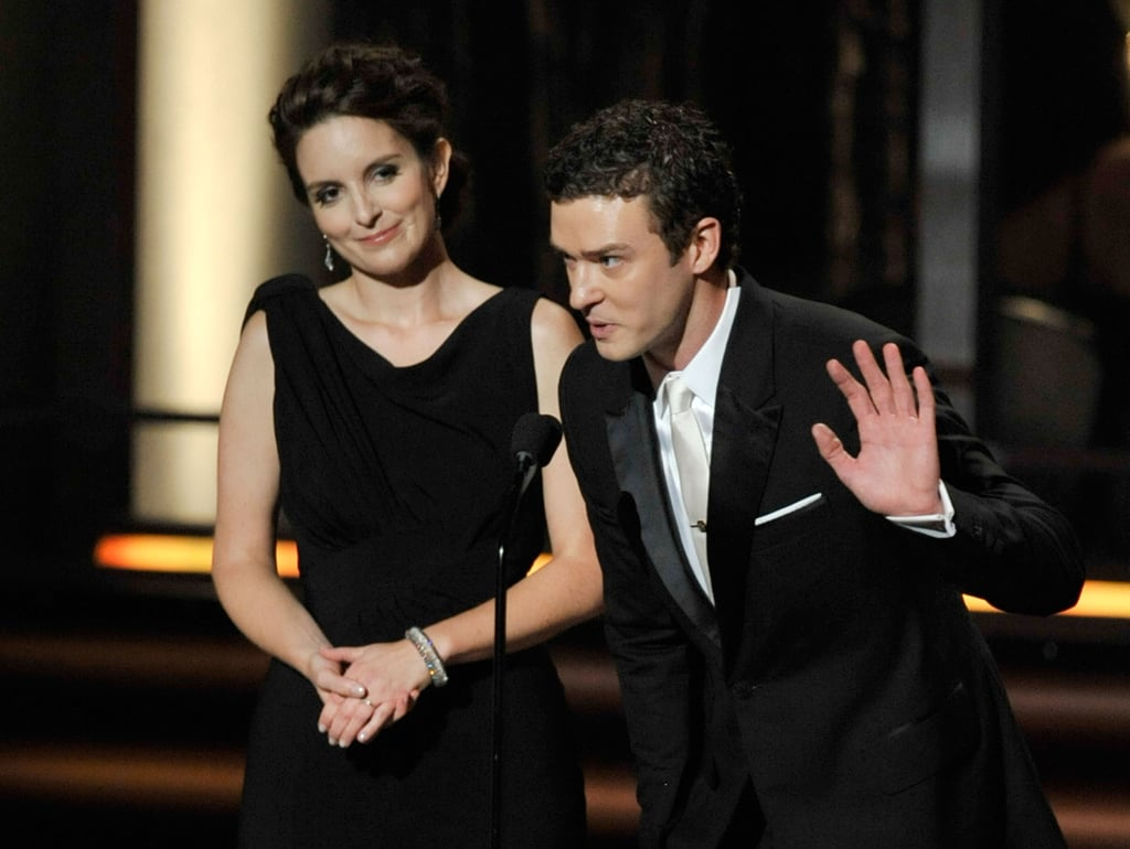 Justin Timberlake presented an award with Tina Fey on stage at the Emmys in September 2009.