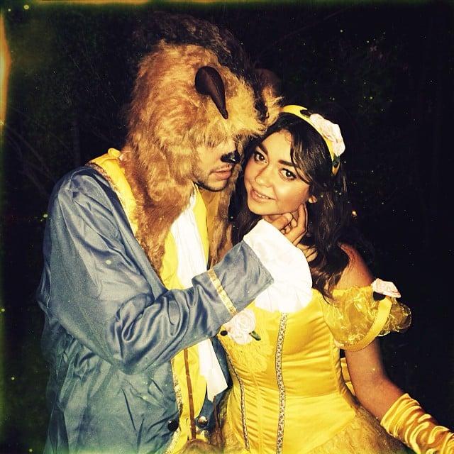 Sarah Hyland dressed up as Belle for Halloween, with her boyfriend Matt Prokop as Beast. Source: Instagram user therealsarahhyland