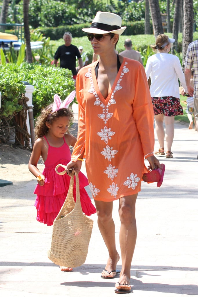 Halle Berry and Nahla attended an Easter egg hunt while on vacation in Hawaii.