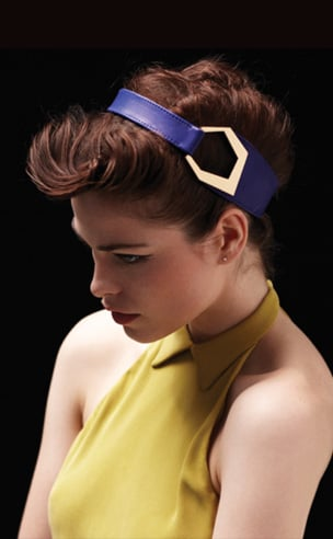 Golden Hex Leather Headwrap