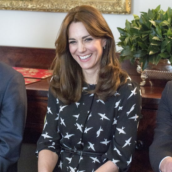 Kate Middleton Wearing a Black Printed Dress March 2016