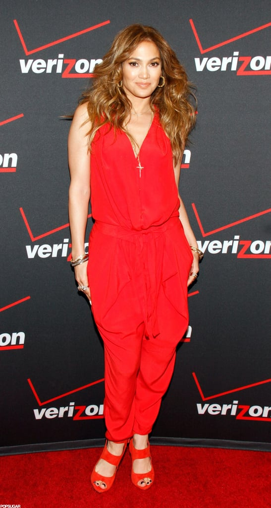 Jennifer Lopez struck a pose in a red jumpsuit.