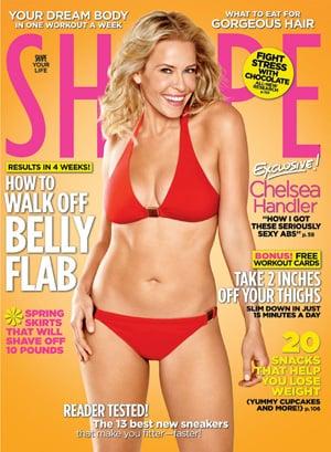 Chelsea Handler on Cover of Shape Magazine April 2010