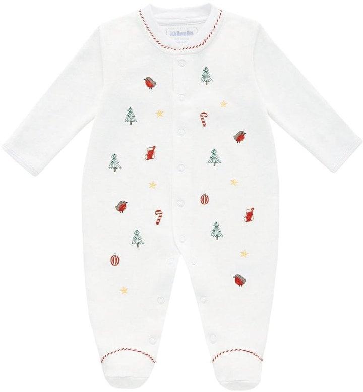 JoJo Maman Bebe Christmas Embroidered Footie