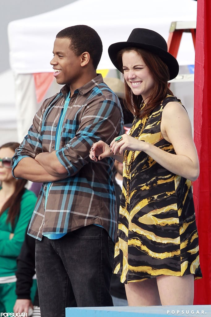 Tristan Wilds and Jessica Stroup filmed a scene for 90210.