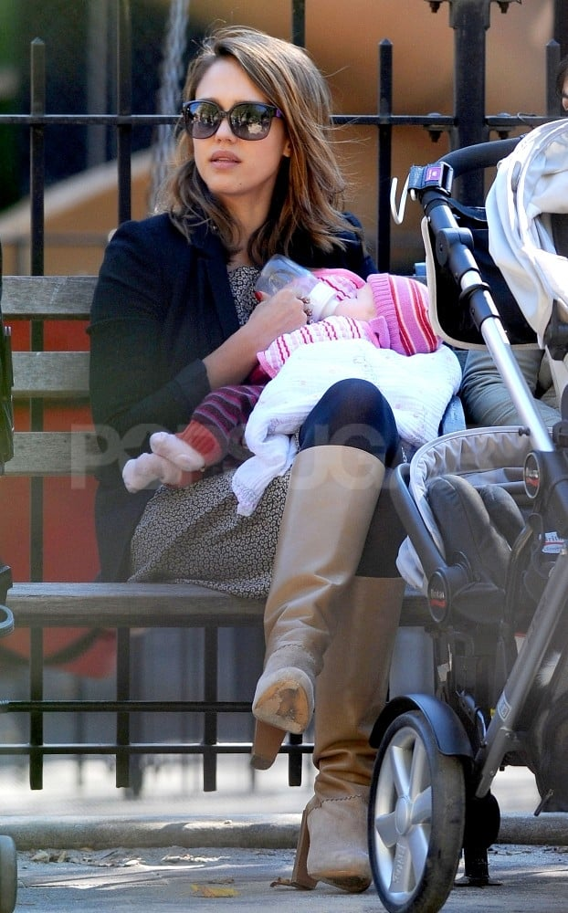 Jessica Alba fed Haven while watching Honor play.