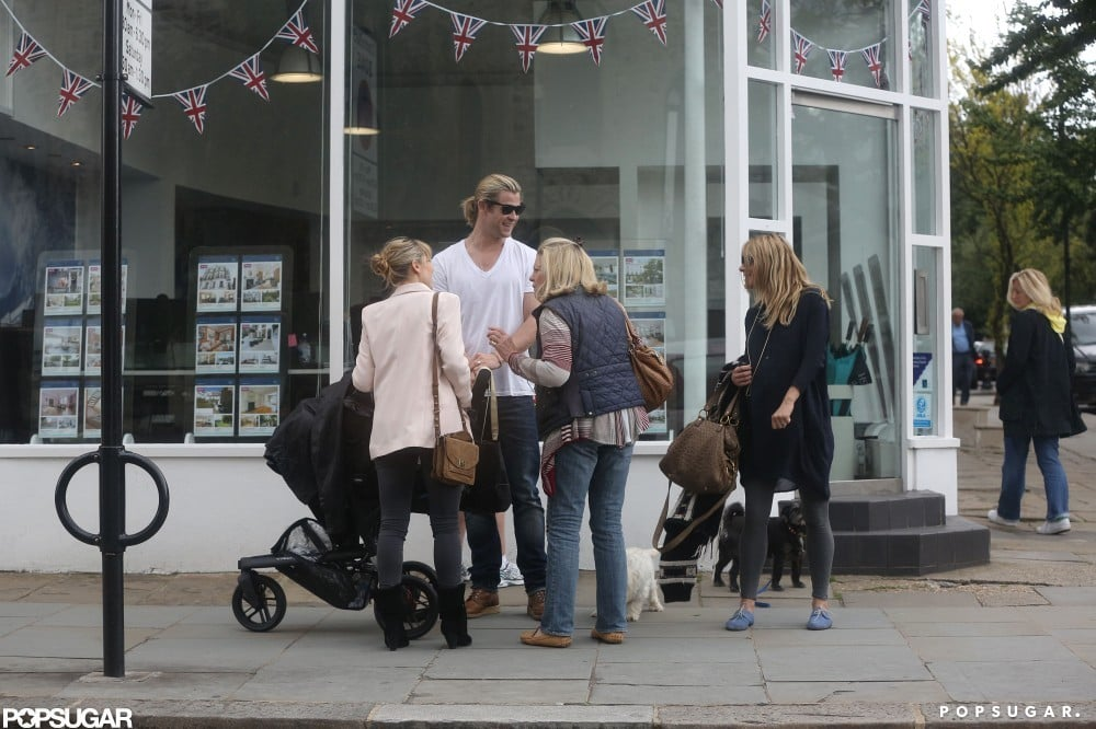 Chris Hemsworth and his wife Elsa Pataky ran into Sienna Miller and her mom in London.