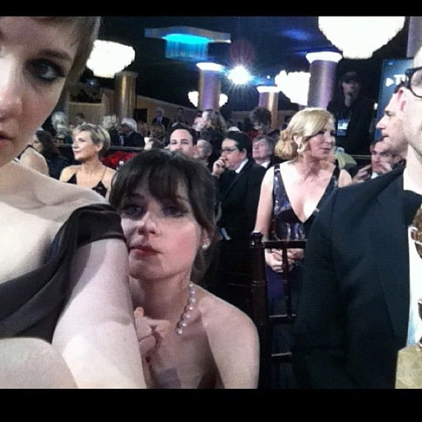 Lena Dunham, star of Girls, and Zooey Deschanel, star of New Girl, took some happy snaps at the Golden Globes. Source: Instagram user zooeydeschanel