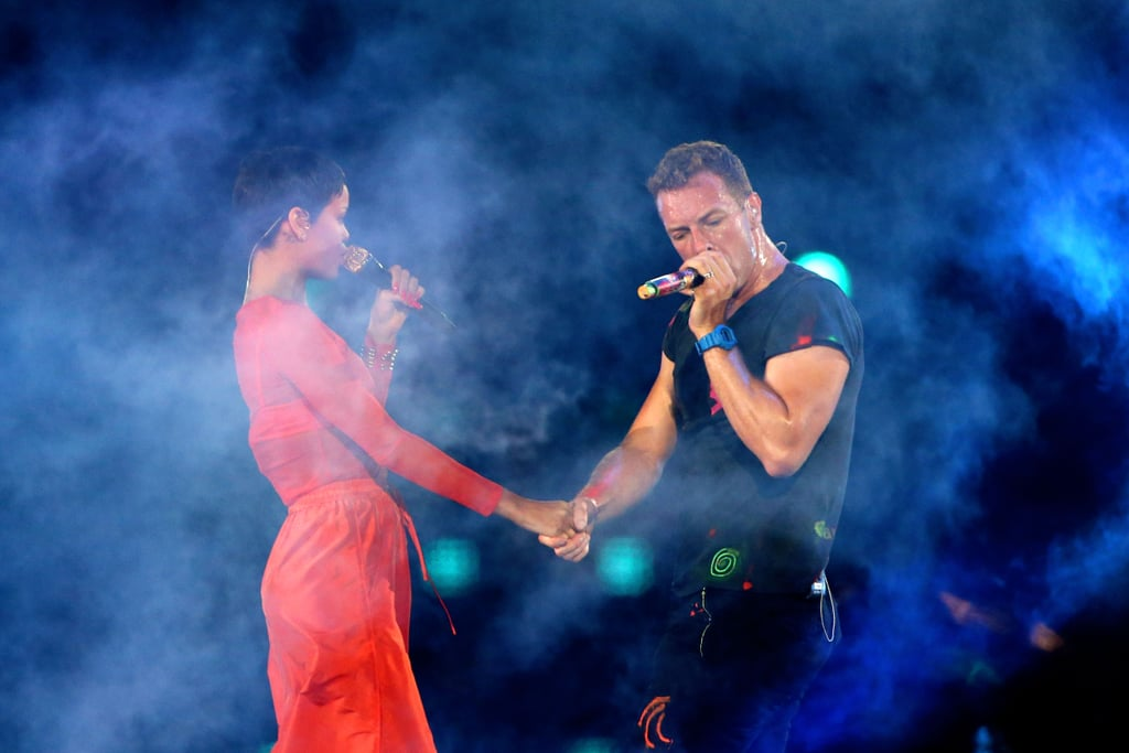 Chris Martin took Rihanna's hand during their performance for the London Paralympics closing ceremony.