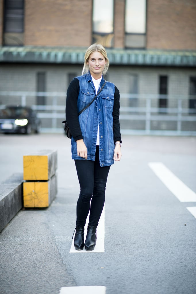 A roomy denim vest gives this classic look a dose of rocker-cool. Source: Adam Katz Sinding