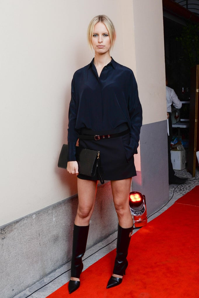 Karolina Kurkova was at her most powerful in strong separates at the Salvatore Ferragamo flagship opening in Milan.