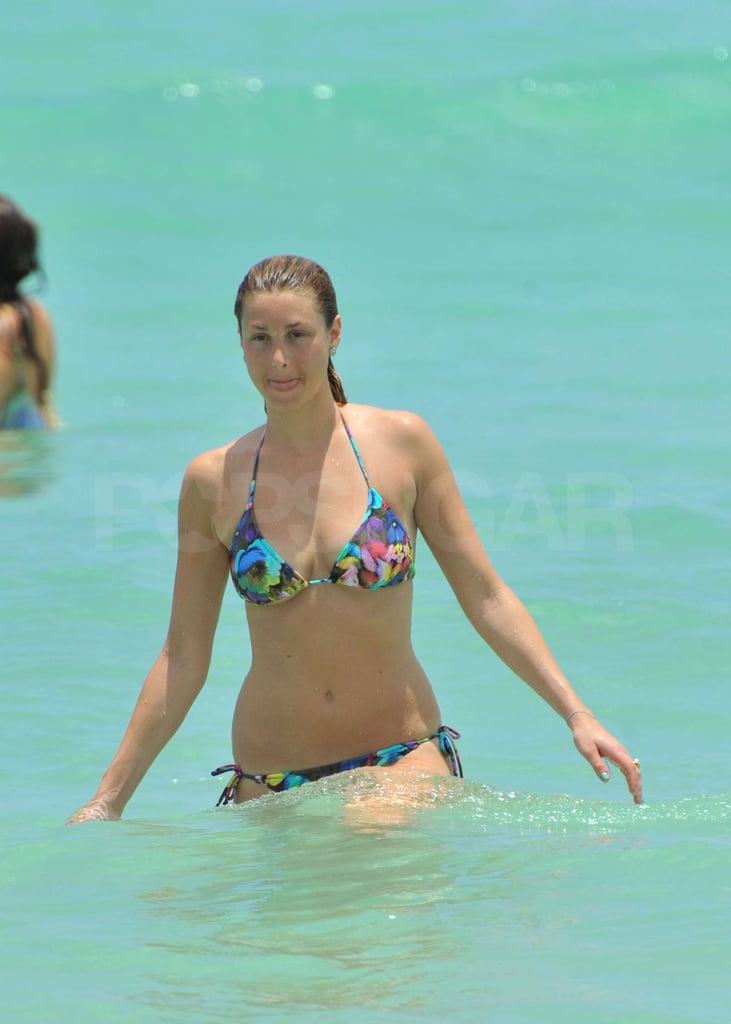 Whitney Port waded in the Miami Beach waters.