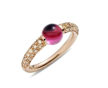 The Pomellato M'ama Non M'ama ring ($3,075) fuses a girlier sentiment with beautiful diamonds and a sleek finish.