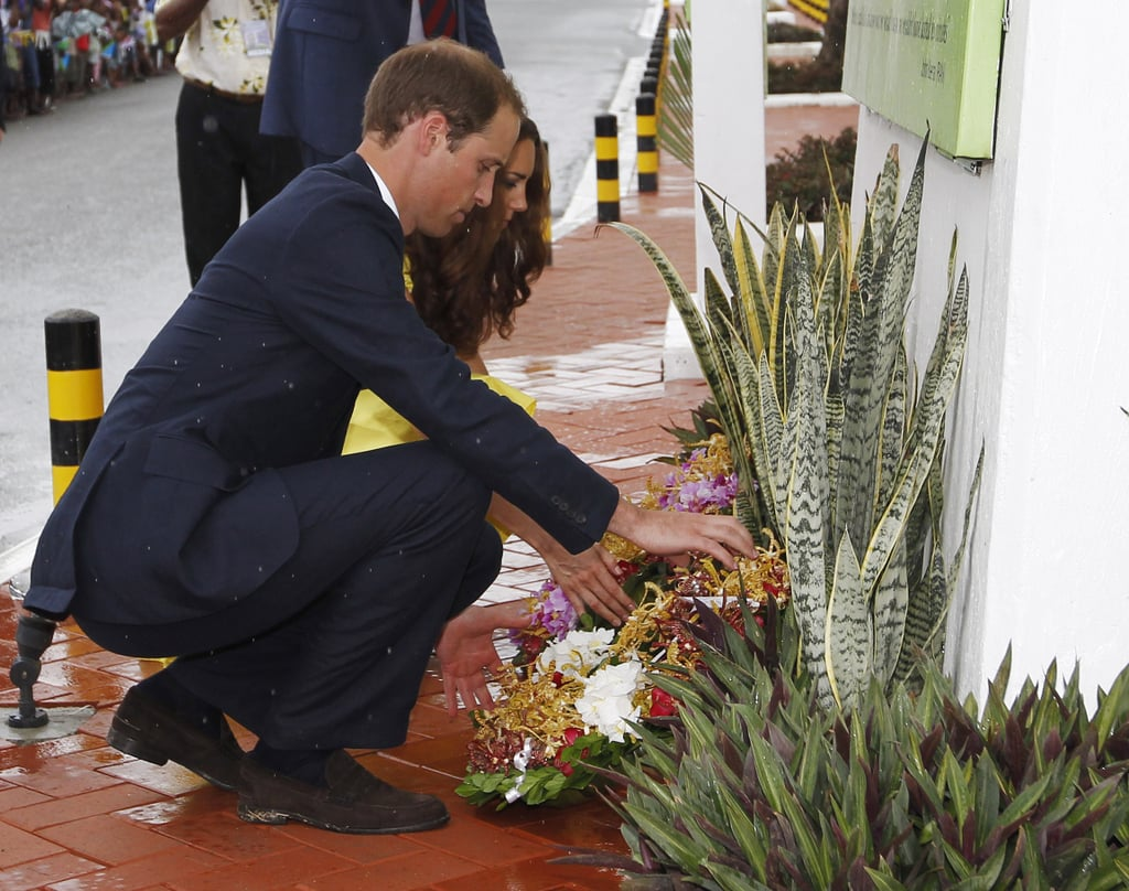Kate Middleton and Prince William laid a wreath at the Coastwatchers and Solomon Scouts Memorial.