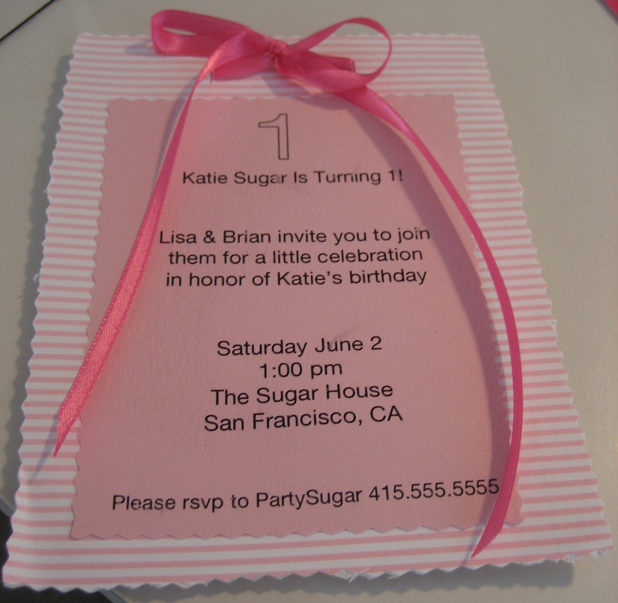 Come Party With Me: KatieSugar's First Birthday Party - Invite