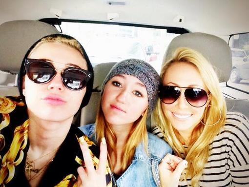 """Miley Cyrus shared a snap with """"baddest bitches in the world"""" — her mom, Tish, and her little sister, Noah. Source: Twitter user MileyCyrus"""