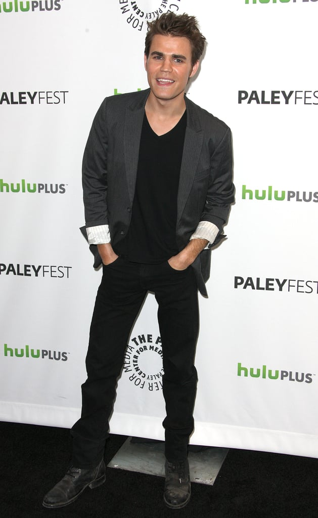 Paul Wesley hit the black carpet solo before chatting with press.