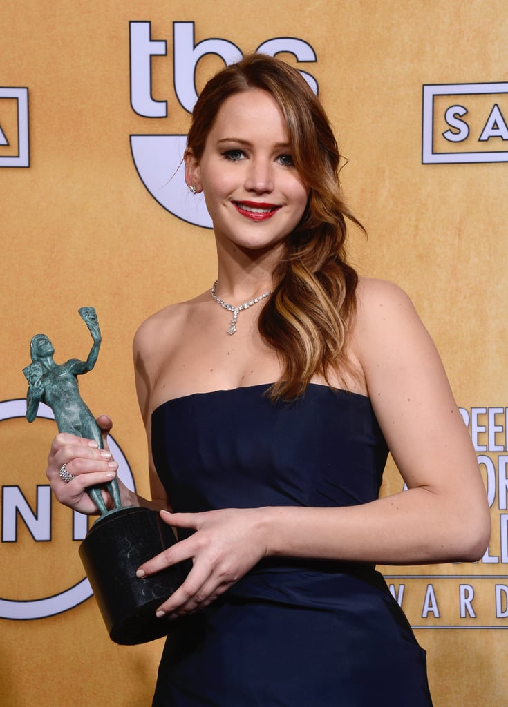 Jennifer Lawrence posed with her SAG Award.