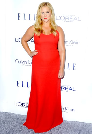 Amy Schumer Channels BFF Jennifer Lawrence in Slinky Red Gown