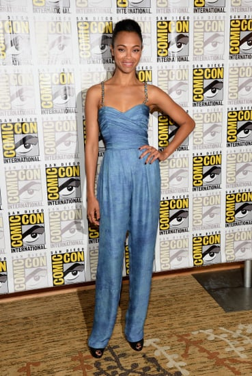 Zoe-Saldana-chose-Balmain-Resort-2014-sleeveless-blue-jumpsuit