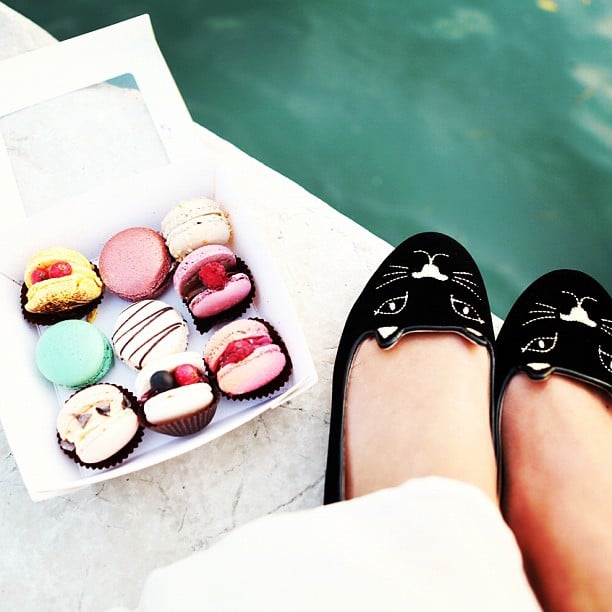 Nicole Warne and her cute shoes got acquainted with macarons in Venice. Source: Instagram user garypeppergirl