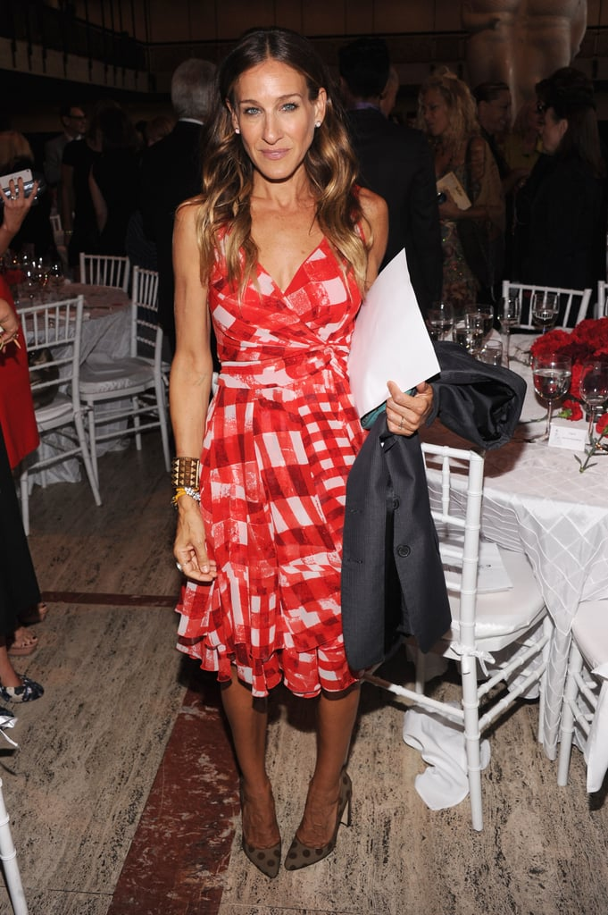 SJP's polka-dot Manolo Blahnik pumps lent a whimsical touch to her plaid Oscar de la Renta dress at a 2012 Couture Council soiree.