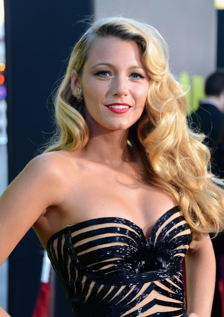 Blake showed off a hot neckline with her bustier-style bodice.