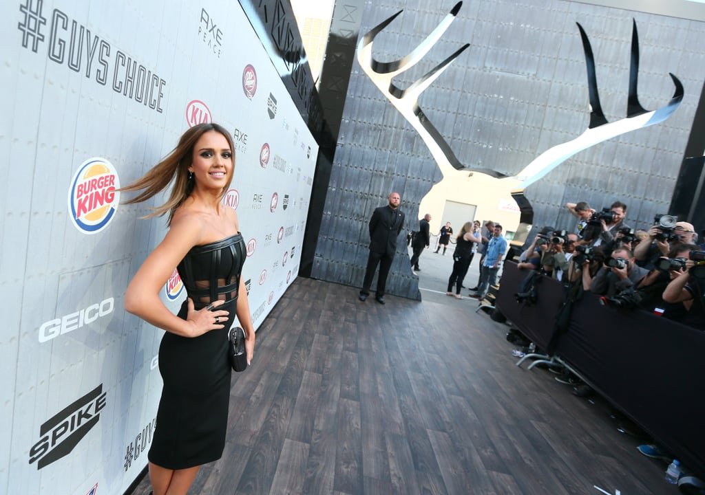 Jessica Alba's hair appeared to blow in the wind.