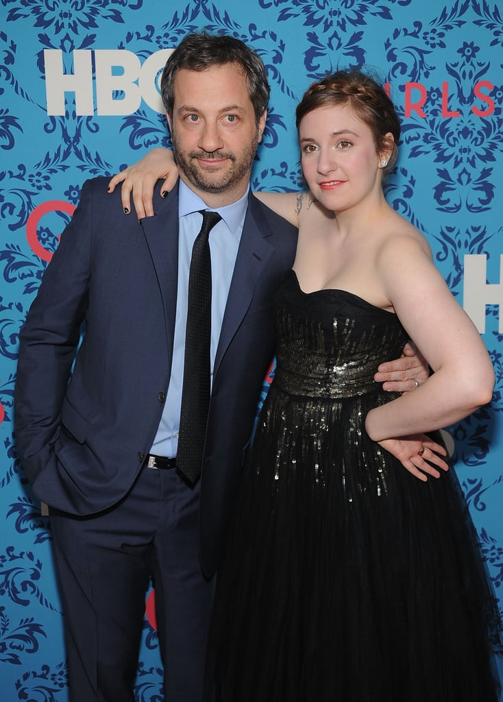 Producer Judd Apatow posed with creator Lena Dunham at HBO's Girls premiere in NYC.