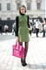 Her green Topshop shiftdress is certainly cute, but let's be honest: we've only got eyes for that amazing electric pink Phillip Lim Pashli bag.
