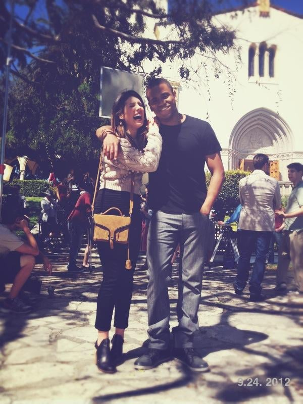 Shenae Grimes and Tristan Wilds laughed it up on the set of 90210. Source: Twitter user JessicaLStroup